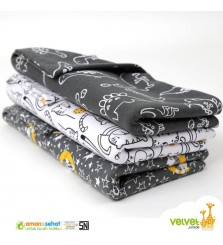 Velvet junior bedong bayi isi 3pcs
