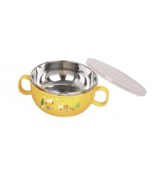 BabySafe Stainless Bowl with cover ukuran 240ml, 450ml