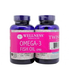 WELLNESS OMEGA 3 FISH OIL 75 SOFTGELS Minyak ikan TWIN PACK
